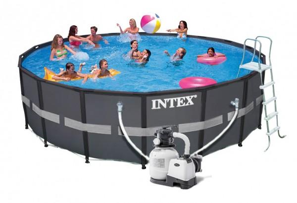 Intex Ultra Frame Pool Komplett-Set 610x122 + Sandfilter 26334