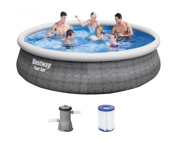 Bestway Fast Set Pool 396x84cm + Pumpe 57376