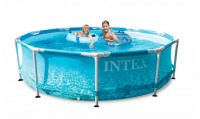 INTEX Swimming Pool Metal Frame Beachsize 305x76cm + Pumpe 28208