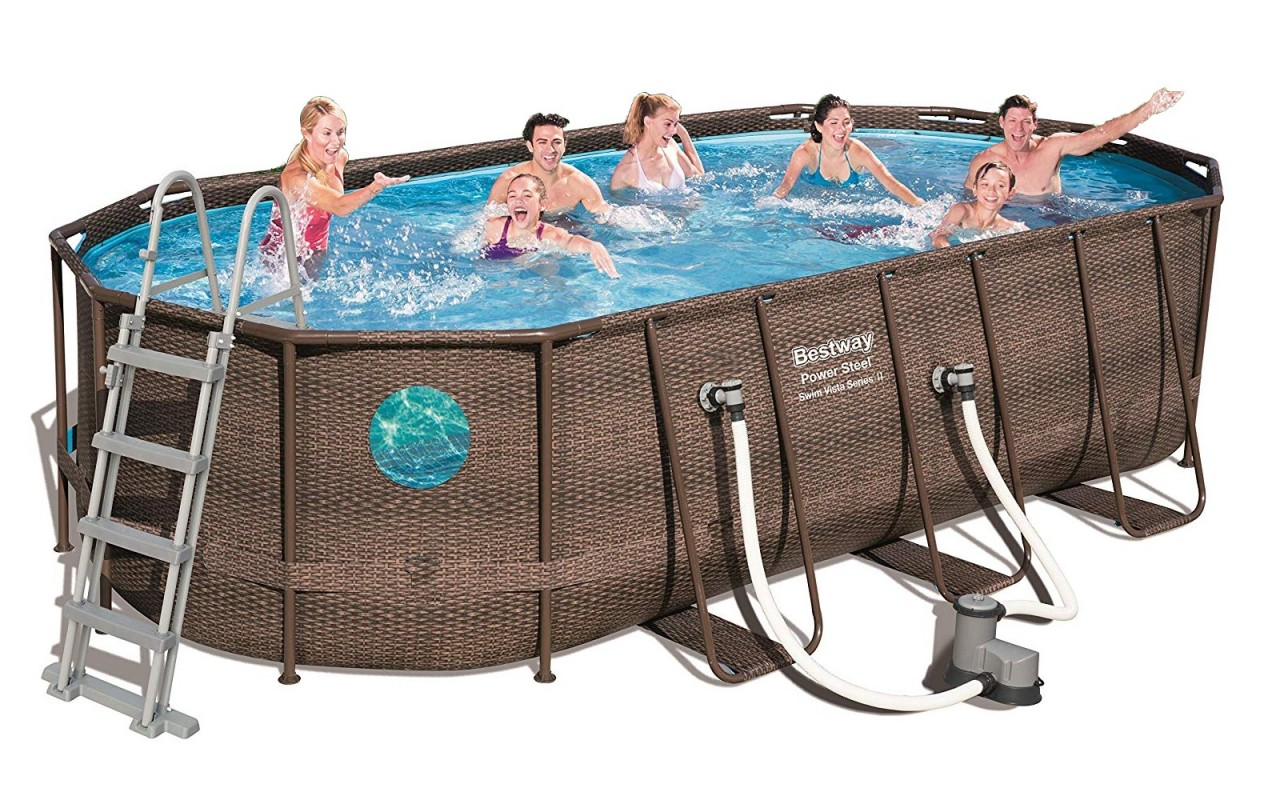Bestway Power Steel Vista Oval Pool Set 549x274x122 Rattan 56716