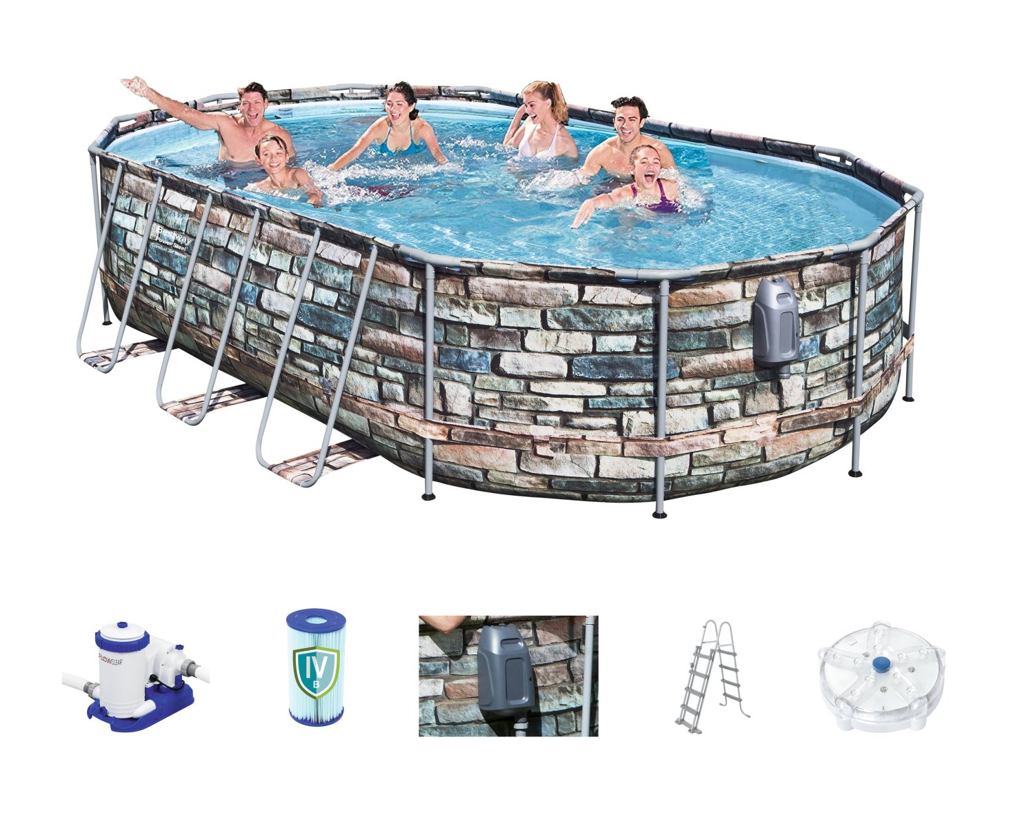 Bestway Power Steel Jet Oval Frame Pool Set 610 X 366