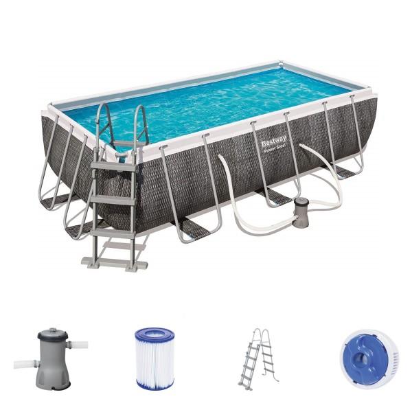 Bestway Power Steel Pool Set 412 x 201 Rattan 56722