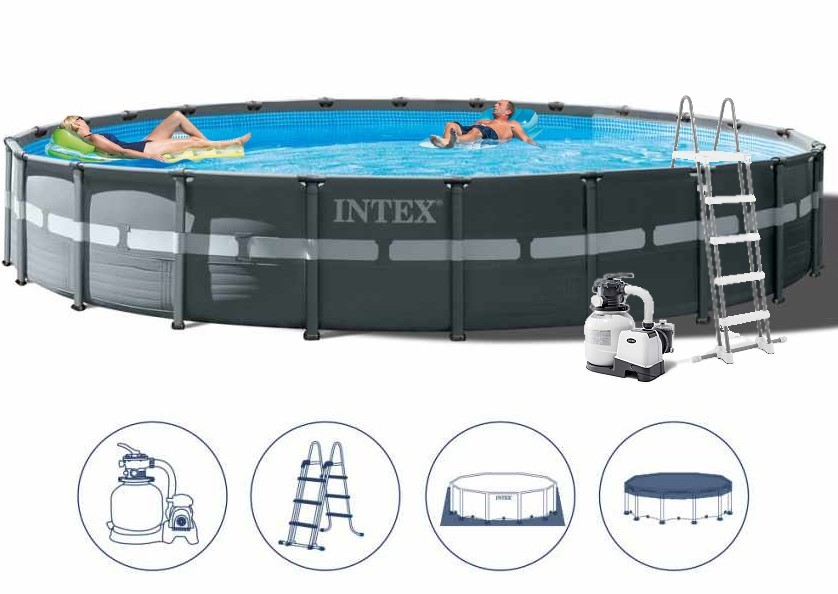 Intex Ultra Frame Pool Komplett-Set 732x132 + Sandfilter 26340