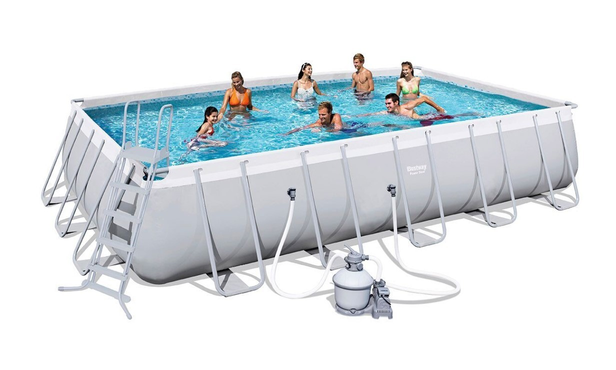 Bestway Rectangular Frame Pool Set 671 x 366 mit Sandfilter 56471