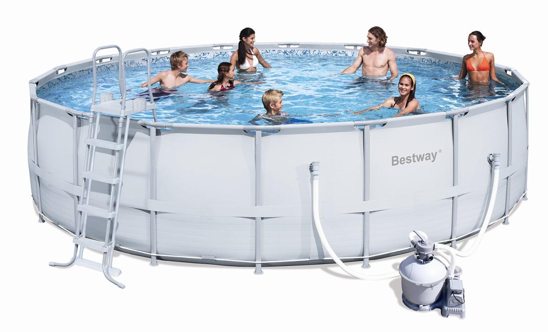 bestway steel pro pool set 549x132 mit sandfilter 56464 b. Black Bedroom Furniture Sets. Home Design Ideas