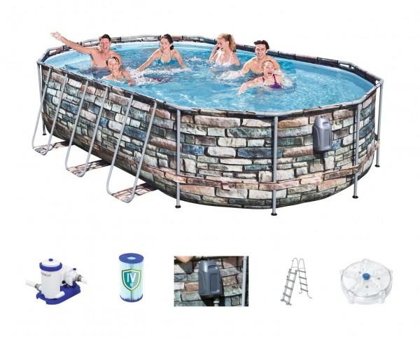 Bestway Power Steel Jet Oval Frame Pool Set 610 x 366 56719