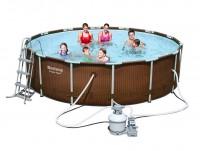 Bestway Steel Pro Pool Set 427x107 Rattan mit Sandfilter 56650