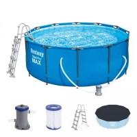 Bestway Steel Pro MAX Frame Pool 366x122 Komplettset blau 56420