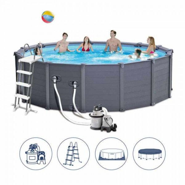 Intex Graphite Panel Pool 478x124cm +Sandfilter 26382