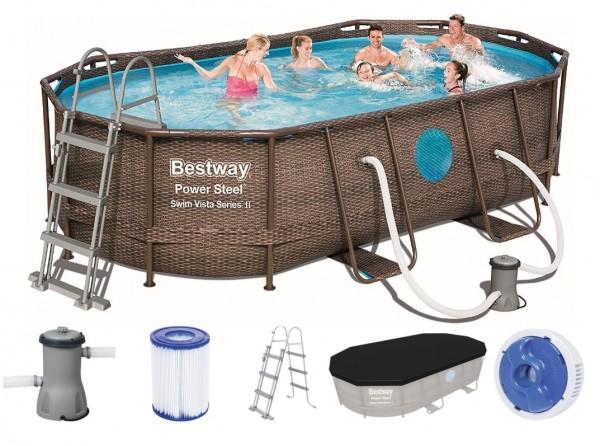 Bestway Power Steel Vista Oval Pool Set 427x250x100 Rattan 56714