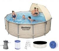 Bestway Power Steel Pool Set 396x107 mit Sonnenschutz 5614V