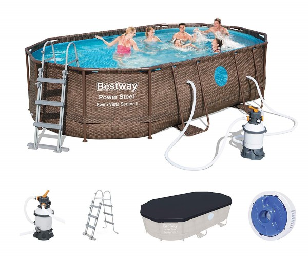 Bestway Power Steel Vista Oval Pool Set 488x305x107 Rattan 56946