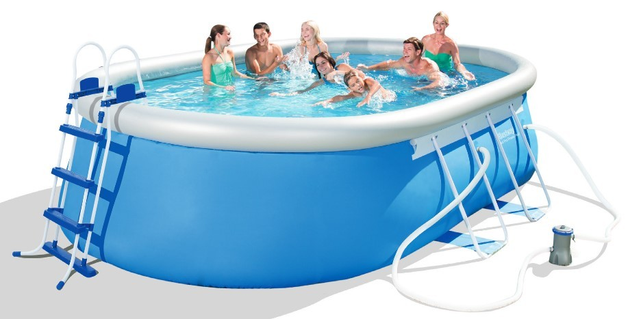 Bestway Oval Fast Set Pool Komplett Set 549x366 56461