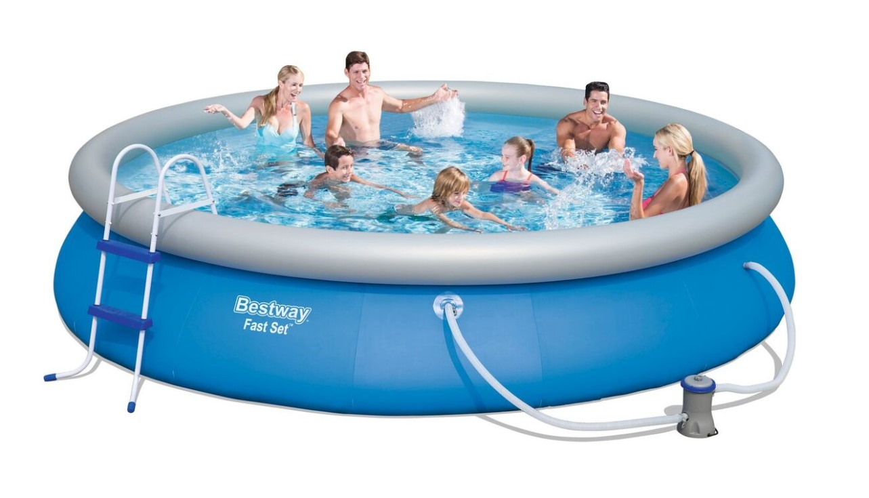 bestway fast set pool komplett set 457x84 57316 fast set pools hersteller bestway pools. Black Bedroom Furniture Sets. Home Design Ideas